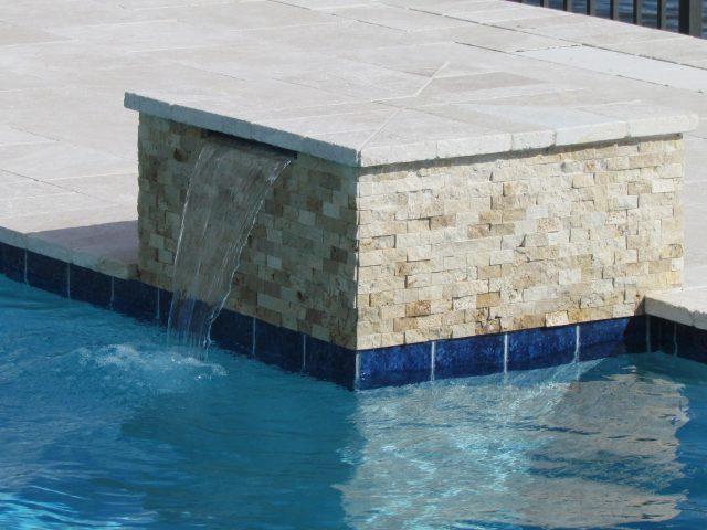 Geometric swimming pool fountain limestone South Florida
