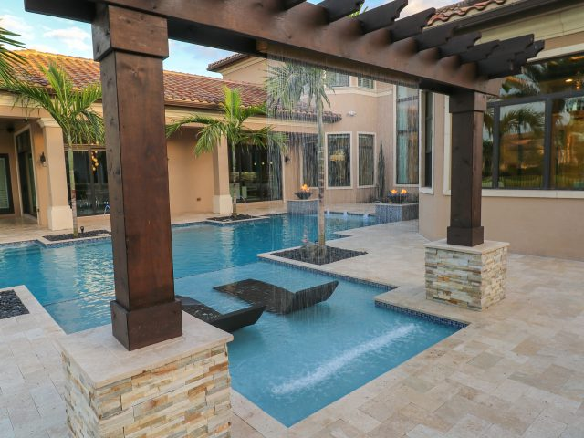 Large geometric pool and spa in South Florida