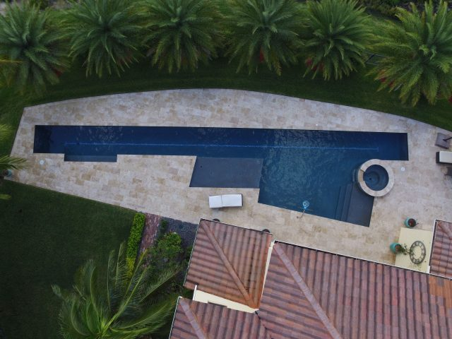 Custom lap pool shot from above in South Florida house